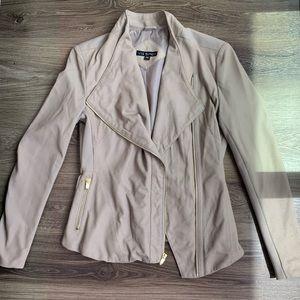 Via Spiga Peplum Faux Leather & Suede Jacket